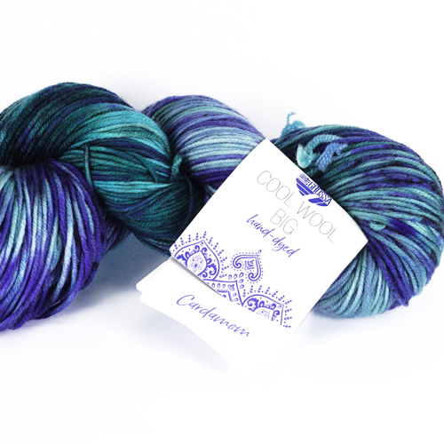 LANA GROSSA Cool Wool Big Hand-Dyed 100g, Farbe 202 cardamom  - marine/royal/mint