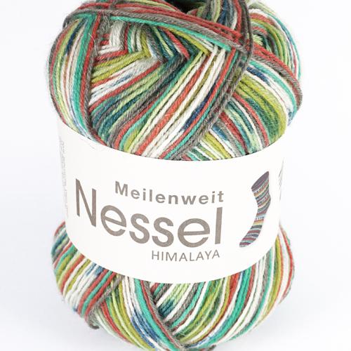 LANA GROSSA Meilenweit Nessel 4-fach 100g, Farbe 5101 dunkel-/gelbgrün/rost/jade/petrol/jeans/rohweiß