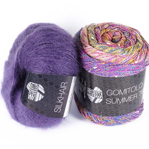 """Strickset """"Das perfekte Tuch"""" aus Silkhair Farbe 80 und Gomitolo Summer Tweed Farbe 11"""