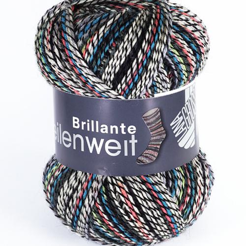 LANA GROSSA Meilenweit Brillante 4-fach 100g, Farbe 1655 schwarz/weiß/koralle/gletscherblau/hellgrün