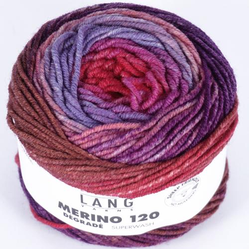 LANGYARNS Merino 120 Degradé 50g, Farbe 4 rot/violett