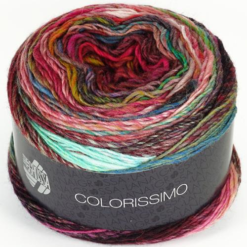 LANA GROSSA Colorissimo Farbe 3 rot/petrol/grün/rosa/hellgrün/bordeaux