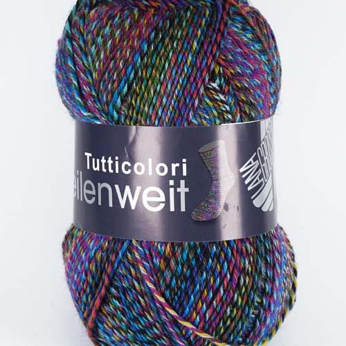 LANA GROSSA Meilenweit Tutticolori 100g Farbe  6961 Grün/Blau/Rot meliert