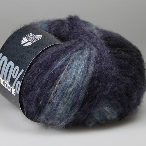 LANA GROSSA 100% Emozione Degradé 25g  Farbe 105 Hellblau/Blauviolett/Anthrazit