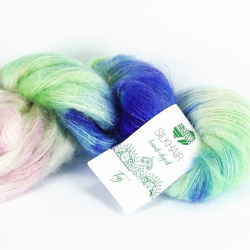 LANA GROSSA Hand-Dyed Silkhair 100g, Farbe  602 taj - blau/mint/rosa/grau