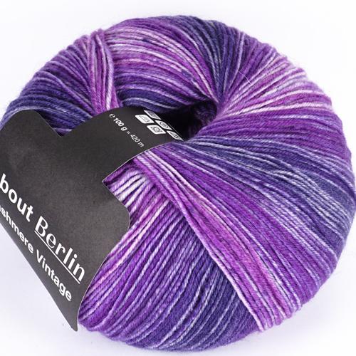 LANA GROSSA About Berlin MW 100 Vintage Cashmere 100g, Farbe 821 violett/weiß