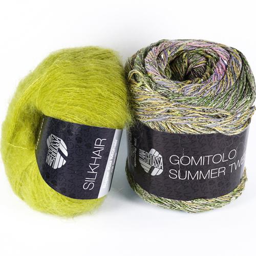 """Strickset """"Das perfekte Tuch"""" aus Silkhair  Farbe 139 und Gomitolo Summer Tweed Farbe 12"""