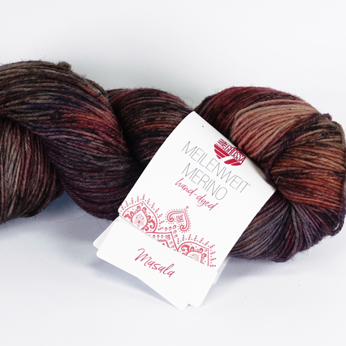 LANA GROSSA Hand-Dyed Meilenweit Merino 100g, Farbe  405 masala - anthrazit/rotbraun