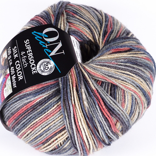 ONLINE Supersocke 4-fach Silk Color Sort 301 100g, Farbe 2590