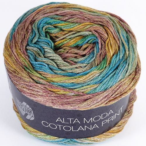 LANA GROSSA Alta Moda Cotolana Print 100g Farbe 101 Türkis/Mint/Curry/Braun/Camel