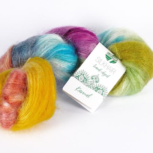 LANA GROSSA Hand-Dyed Silkhair 100g Farbe 609 kamal  Ecru/Hellgrau/Hellblau/Gelb/Terracotta/Rotviolett/Dunkelgrau