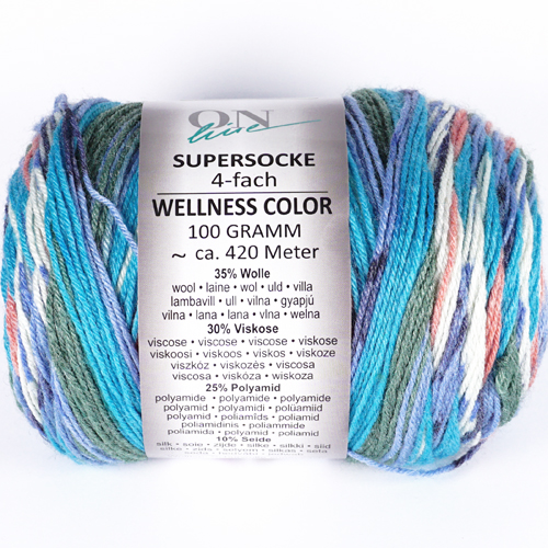 ONLINE Supersocke 4-fach Wellness Color Sort 295 100g, Farbe 2543