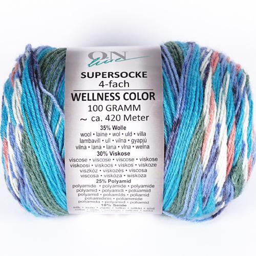 ONLINE Supersocke 4-fach Wellness Color Sort 295 100g, Farbe 2543