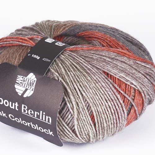 LANA GROSSA About Berlin Yak Colorblock 100g Farbe  637 Taupe/Grau/Graurosa/Orange/Dunkelgrau meliert