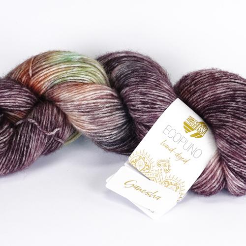 LANA GROSSA Hand-Dyed Ecopuno 50g, Farbe  504 ganesha  - hell-/graubeige/braun