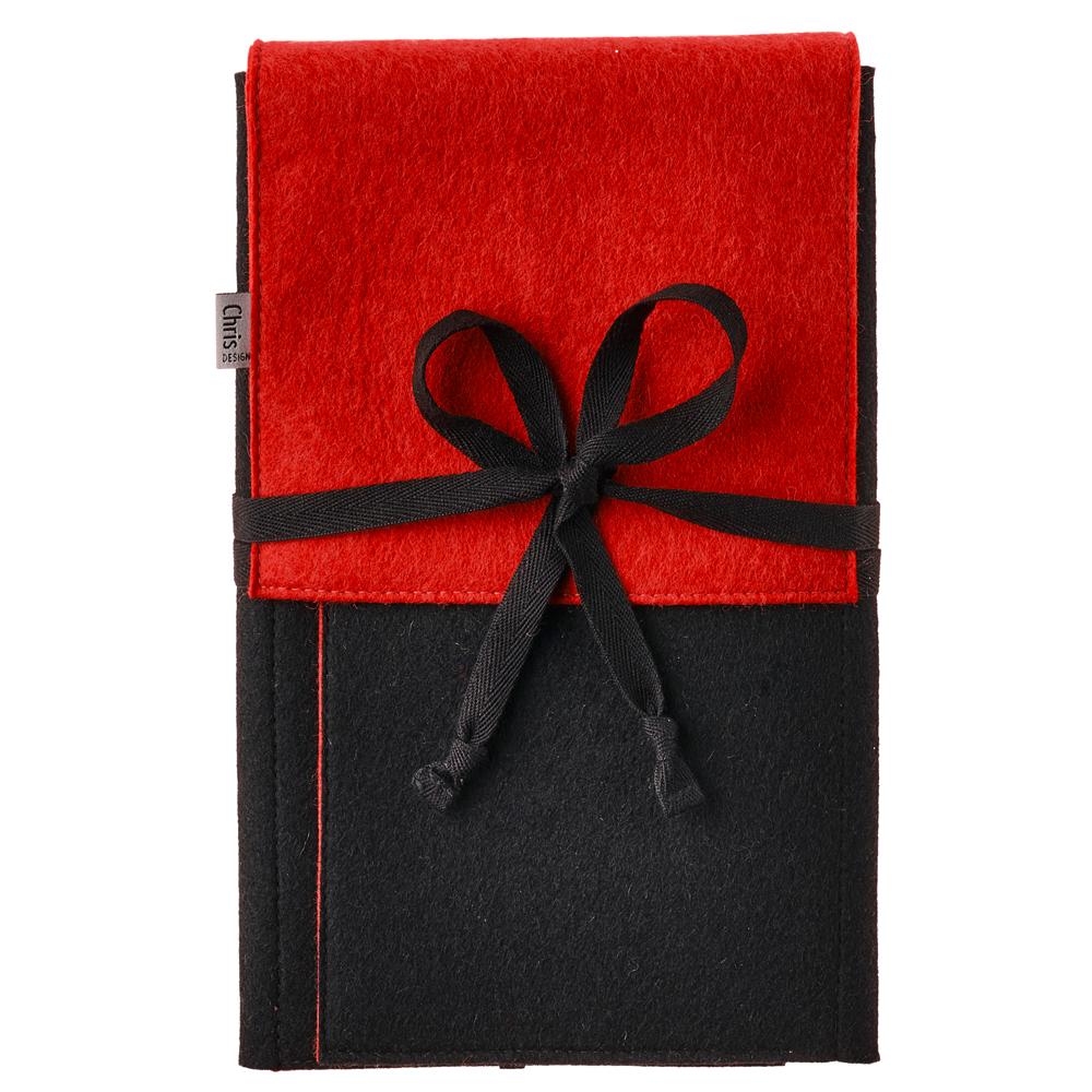 ChrisDESIGN Nadeltasche LEE perfekt für Stricknadeln und Zubehör, Farbe schwarz/rot
