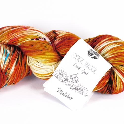 LANA GROSSA Hand-Dyed Cool Wool 100g; Farbe 101 malabar - orange/rohweiß/gelb