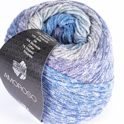 LANA GROSSA Amoroso 100g Farbe 4 Hellgrau/Jeans/Veilchenblau/Grau