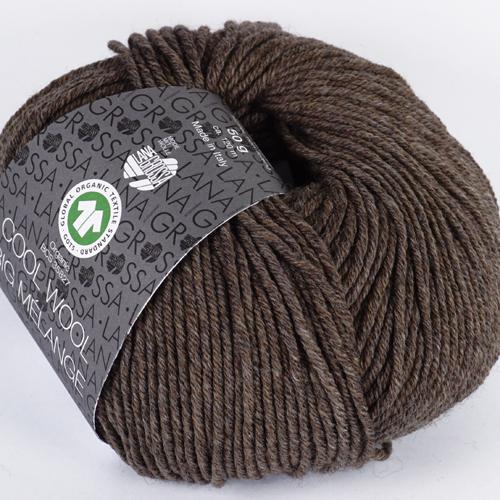 LANA GROSSA Cool Wool Big Mélange GOTS 50g, Farbe 224 graubraun meliert