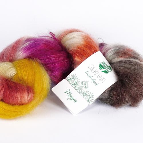 LANA GROSSA Hand-Dyed Silkhair 100g Farbe 608 mogra Dunkelgrau/Ecru/Terracotta/Gelb/Rotviolett